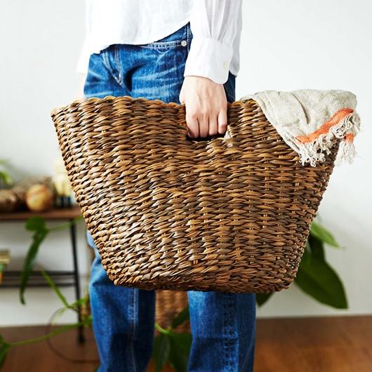 フェリシモ 洗える手編みバスケット 片手で持てます