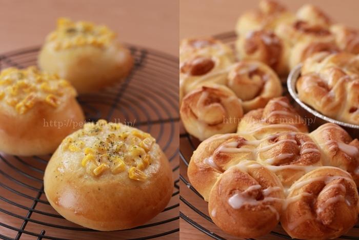 30分で作るパン コーンマヨネーズパンとシナモンロール