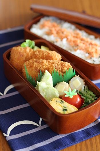 会津塗 木製くりぬきお弁当箱 盛り付け例1