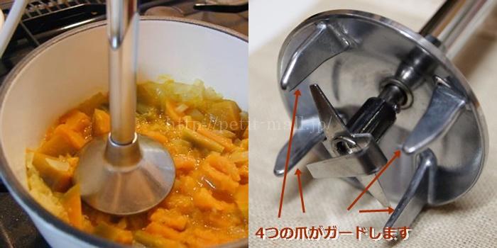 バーミックス 鍋に傷がつかない理由 4つの爪がガードします