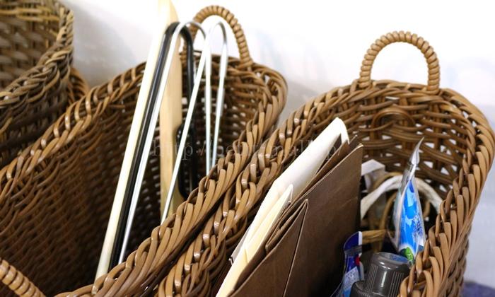 フェリシモ 洗える手編みバスケット スリムタイプ