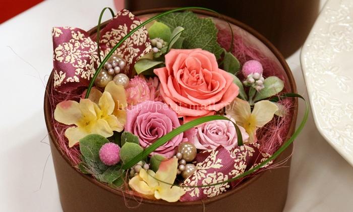 イイハナドットコム 母の日 プリザーブドセット「シークレットボックス グレゴリー・コレ バラ咲き桃のアントルメ」 プリザーブドアレンジメント