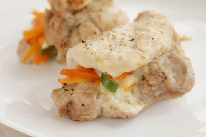トースターパンで調理 鶏肉と野菜のチーズ焼き