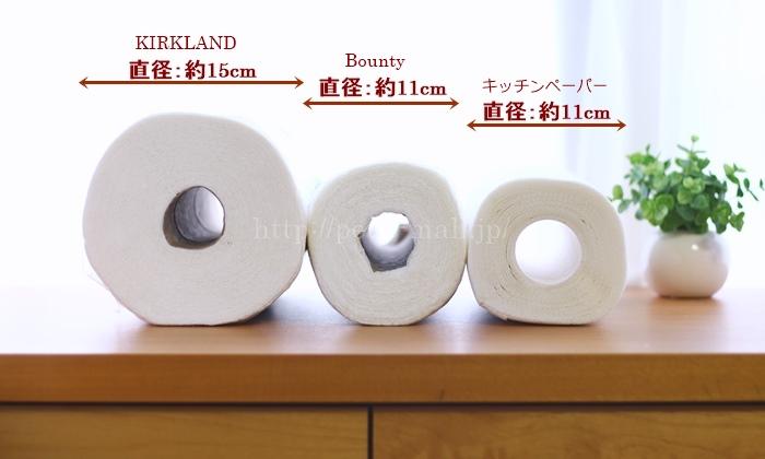カークランド、バウンティー、キッチンペーパー直径比較