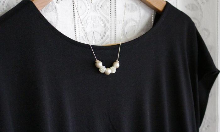 コットンパール プチネックレス 着用イメージ