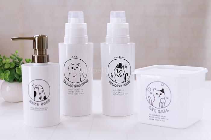 ネコの手書き風イラストかわいい洗濯洗剤・柔軟剤ボトル