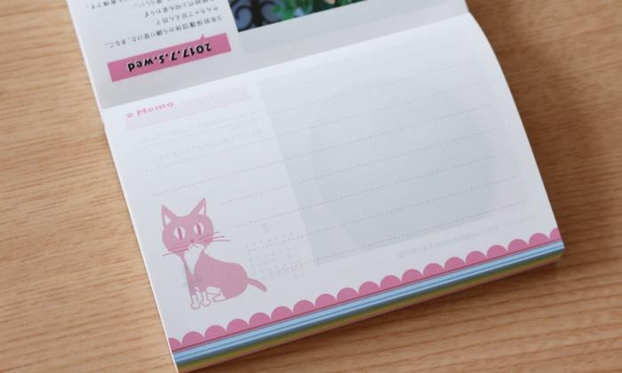 フェリシモの卓上カレンダー「まいにちにゃんこ」裏面はメモとし使えます