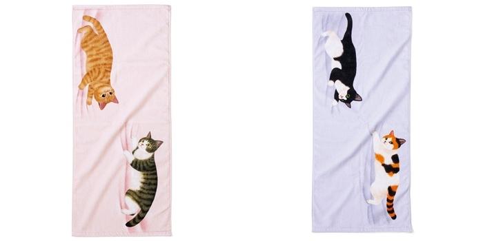 いたずら猫のフェイスタオル