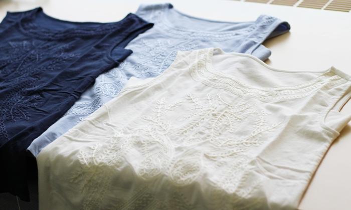 汗取りパッド付き刺繍使いノースリーブインナー