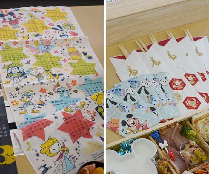 ベルメゾンのディズニーおせち ポチ袋・祝箸・てぬぐいカレンダー付き・