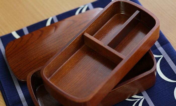 会津塗 木製くりぬきお弁当箱(2段)