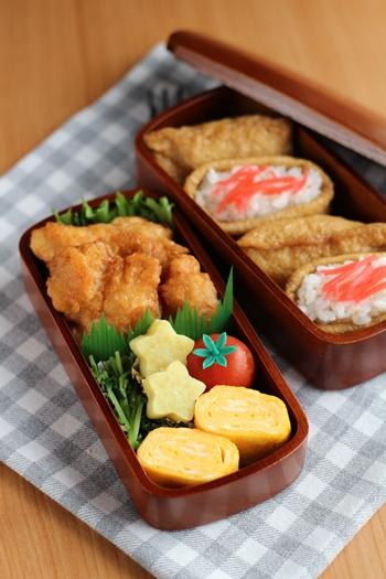 会津塗 木製くりぬきお弁当箱 盛り付け例2