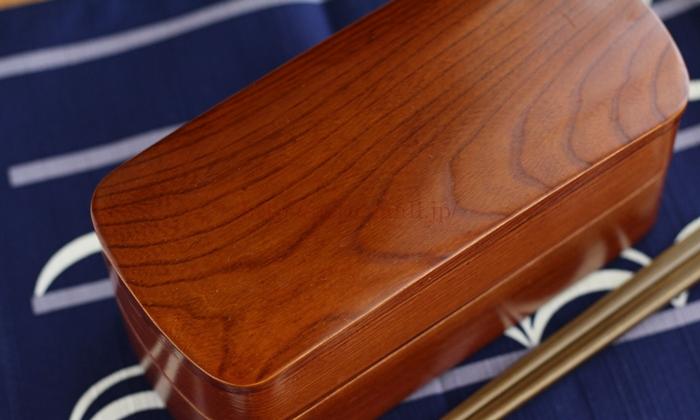 会津塗 木製くりぬきお弁当箱 蓋の木目