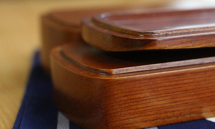 会津塗 木製くりぬきお弁当箱(2段)重ねたときのための溝