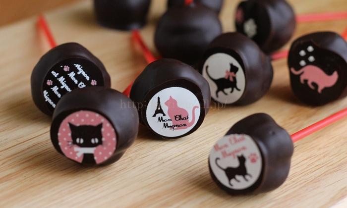 ネコ模様のポップチョコレート