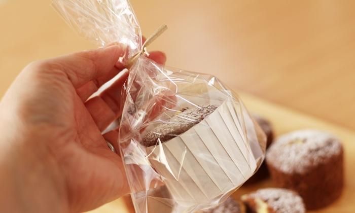 無印良品バレンタイン手作りキット ショコラシフォンケーキ ラッピングした様子