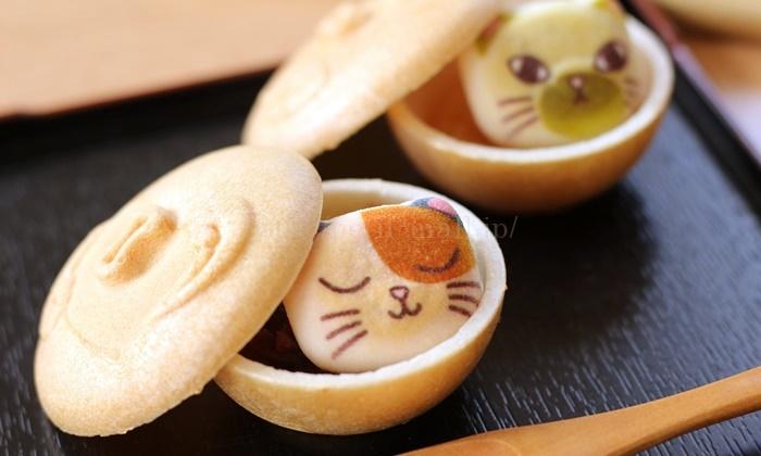 ミニ和風ニャシュマロ お椀にはいった〈猫ほうずい〉最中(もなか)の会