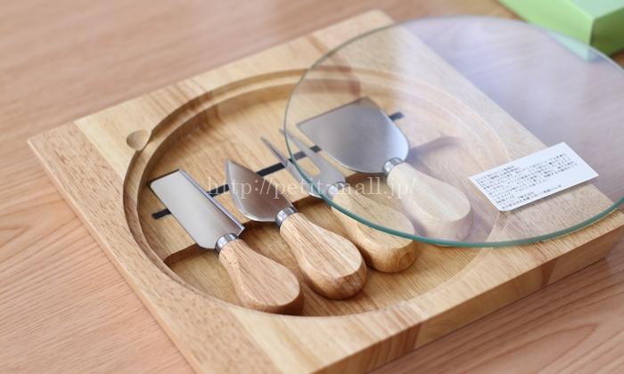 イマジンテーブル ウッディチーズナイフ 4本セット (木製ケース&ガラスボード付き)