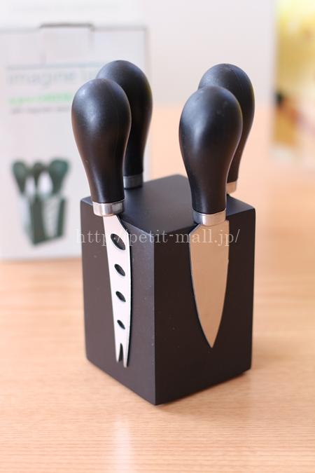 イマジンテーブル シルバーチーズナイフ 4本セット (マグネットスタンド付き)