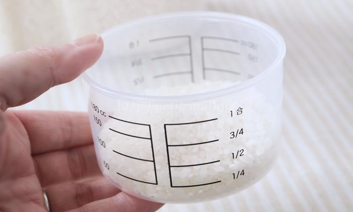 無印良品 米びつ 計量カップのメモリ