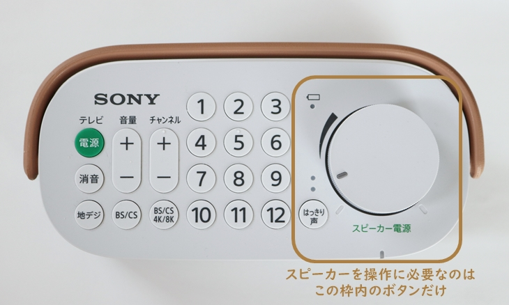 SONYお手元テレビスピーカー操作ボタン